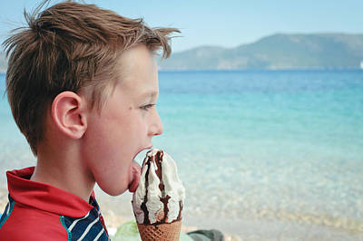 Boy Eating Ice Cream Poster by Tom Gowanlock