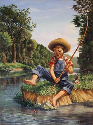 Boy Fishing In River Landscape - Childhood Memories - Flashback - Folkart - Nostalgic - Walt Curlee Poster by Walt Curlee