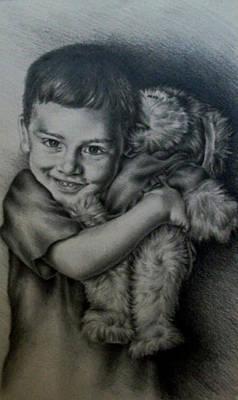 Boy Hugging Teddy Poster by Lisa Marie Szkolnik