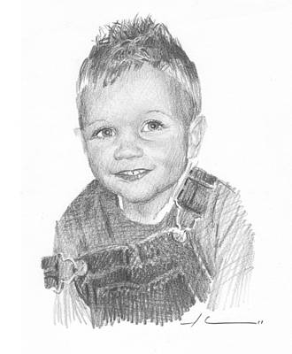 Boy In Overalls Pencil Portrait Poster by Mike Theuer