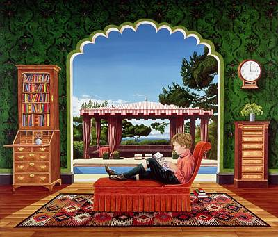 Boy Reading Poster by Anthony Southcombe