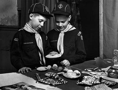 Boy Scouts Looking At Find Poster by Retro Images Archive