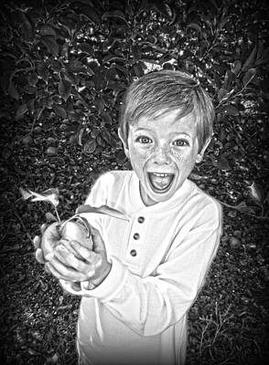 Boy With Apple In Black And White Poster by Kelly Hazel