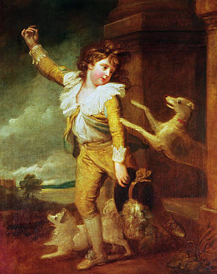 Boy With Dogs Oil On Canvas Poster by Richard Cosway
