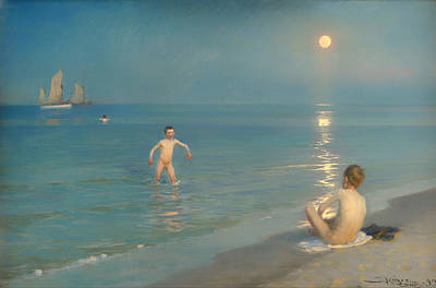 Boys Bathing At Skagen Poster by Mountain Dreams