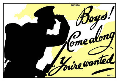 Boys Come Along You're Wanted Poster by War Is Hell Store