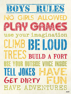 Boys Rules Poster by Debbie DeWitt
