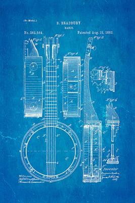 Bradbury Banjo Patent Art 1882 Blueprint Poster by Ian Monk