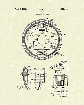 Brake 1932 Patent Art Poster by Prior Art Design