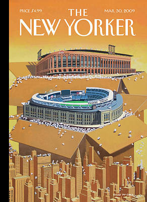 Brand New Yankee's And Met's Stadiums Coming Poster by Bruce McCall