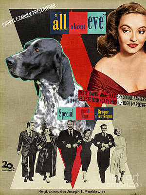 Braque D Auvergne - Auvergne Pointer Art Canvas Print - All About Eve Movie Poster Poster by Sandra Sij