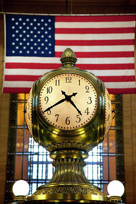 Brass Clock And American Flag In Grand Poster by Brian Jannsen