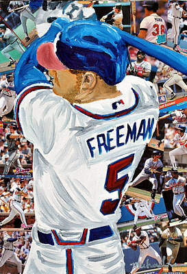 Braves Freeman Poster by Michael Lee
