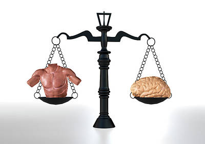 Brawn Vs Brain Poster by Christian Darkin