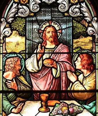 Bread And Wine With Jesus Poster by Adam Jewell