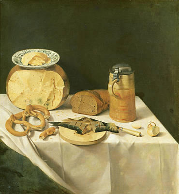 Breakfast Still Life Oil On Canvas Poster by Johann Georg Hinz