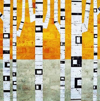 Brick Birches - Winter Poster by Michelle Calkins