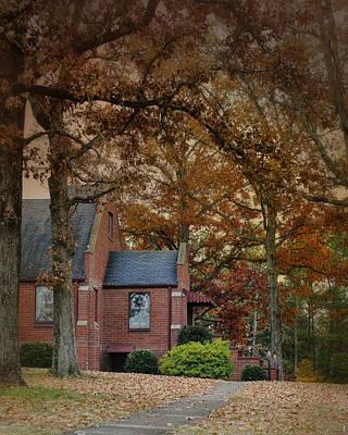 Brick Church In Autumn - Fall Landscape Scene Poster by Jai Johnson