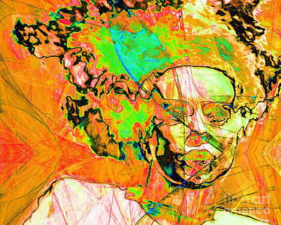 Bride Of Frankenstein In Abstract 20140908 Orange Horizontal Poster by Wingsdomain Art and Photography