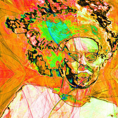 Bride Of Frankenstein In Abstract 20140908 Orange Square Poster by Wingsdomain Art and Photography