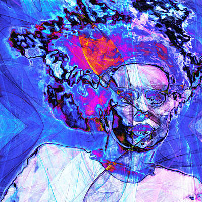 Bride Of Frankenstein In Abstract 20140908 Blue Square Poster by Wingsdomain Art and Photography