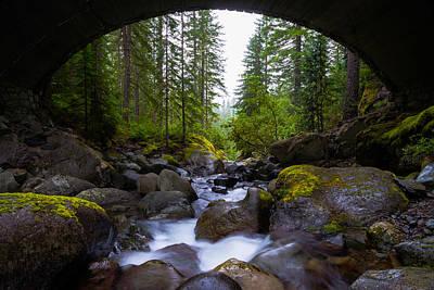 Bridge Below Rainier Poster by Chad Dutson