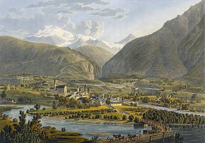 Brig On The Rhone, Bernese Alps Poster by Swiss School