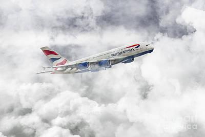 British Airways A380 Poster by J Biggadike