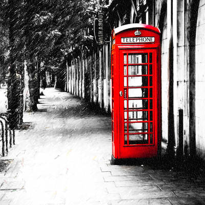 British Red Telephone Box From London Poster by Mark E Tisdale