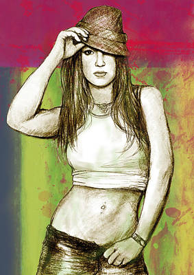 Britney Spears - Stylised Drawing Art Poster Poster by Kim Wang
