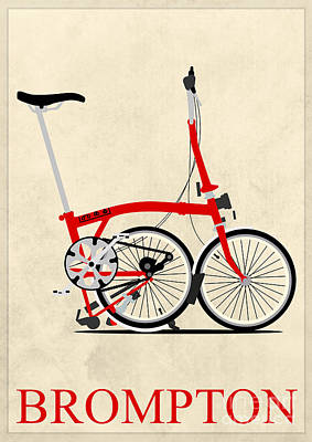 Brompton Bike Poster by Andy Scullion