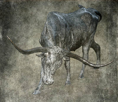 Bronzed Longhorn Poster by Angie Vogel