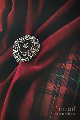 Brooch With Red Velvet And Green Plaid Poster by Sandra Cunningham