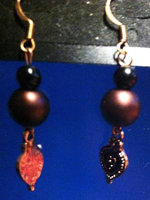 Brown And Black Pearl And Copper Flower Charm Earrings Poster by Kimberly Johnson