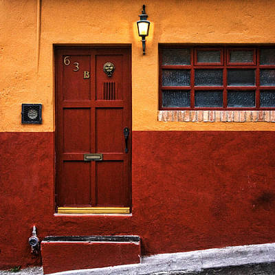 Brown Door In Mexico Poster by Carol Leigh