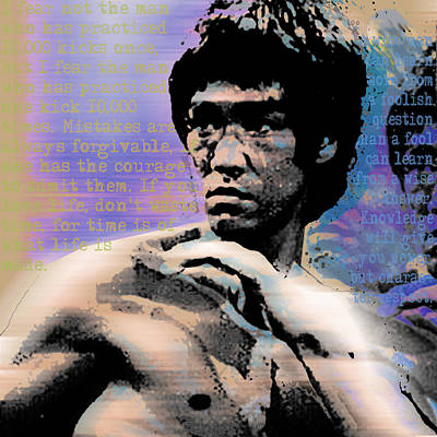 Bruce Lee And Quotes Square Poster by Tony Rubino