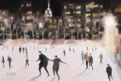Bryant Park Ice Skaters New York At Night Poster by Beverly Brown