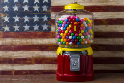 Bubblegum Machine And American Flag Poster by Garry Gay