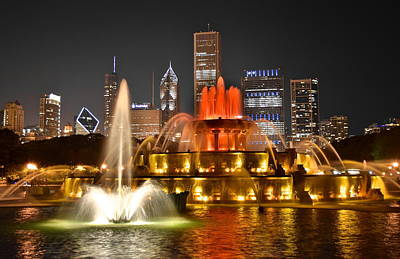 Buckingham Fountain At Night Poster by Frozen in Time Fine Art Photography