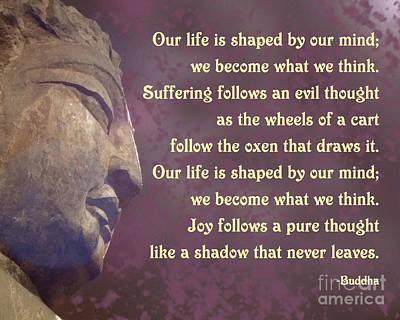 Buddha Mind Shapes Life Poster by Ginny Gaura