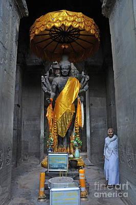 Buddha Statue At Angkor Wat Poster by Sami Sarkis