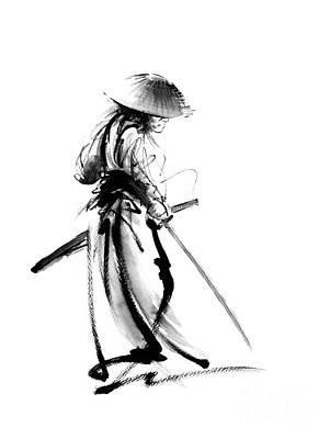 Samurai With A Sword. Ronin - Lone Wolf. Poster by Mariusz Szmerdt