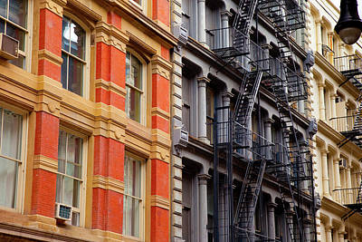 Buildings With Fire Escapes In The Soho Poster by Brian Jannsen