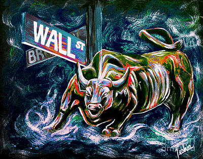 Bull Market Night Poster by Teshia Art