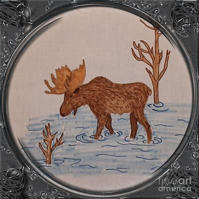 Bull Moose - Porthole Vignette Poster by Barbara Griffin