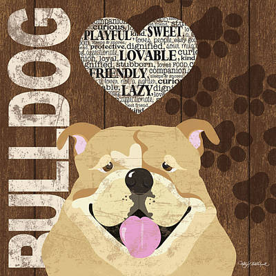 Bulldog Love Poster by Kathy Middlebrook