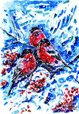 Bullfinches Poster by Zaira Dzhaubaeva