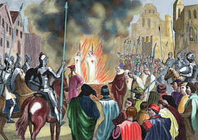 Burning Templar In The 14th Century Poster by Prisma Archivo