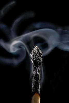Burnt Matchstick And Smoke Poster by Science Photo Library