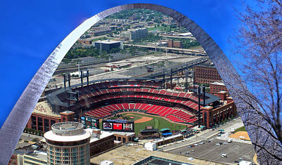 Busch Stadium A View From The Arch Merged Image Poster by Thomas Woolworth